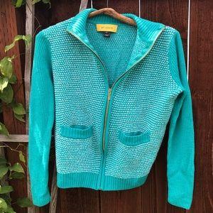 St. John Wool Blue Speckled Zip Cardigan